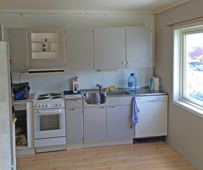 Kjøkken med komfyr og oppvaskmaskin